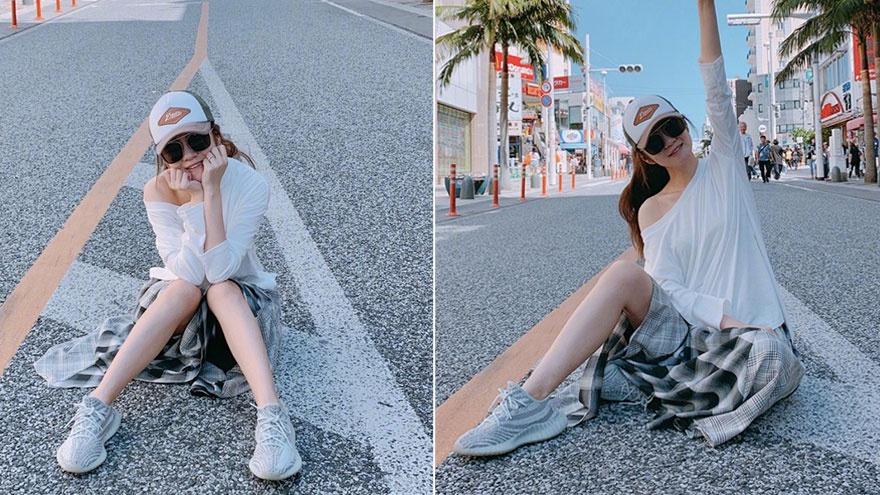假装在旅行!安以轩晒日本街拍照 秀香肩产后身材恢复快