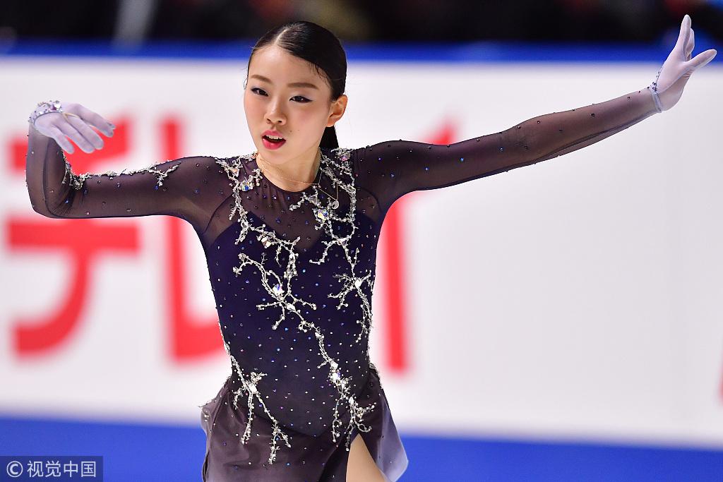 前日短节目出现失误,纪平梨花最终获得全日赛亚军。图/视觉中国