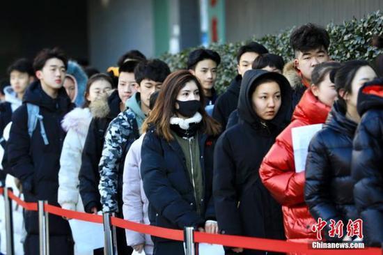 2019年2月,北京电影学院艺考现场。北京电影学院 供图
