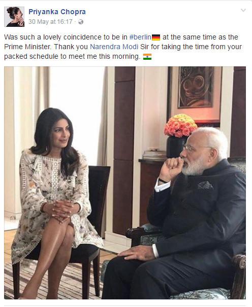 印度女星朴雅卡-乔普拉露小腿见总理挨炮轰 晒高衩露腿装反击