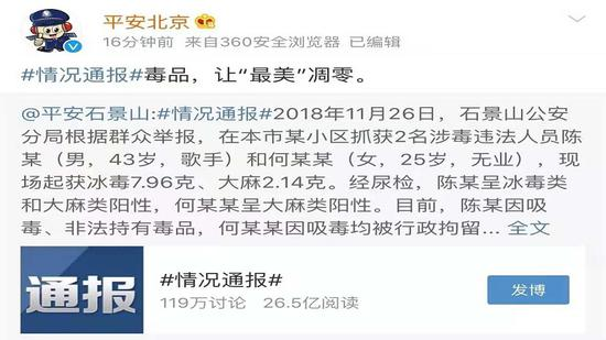 坦然北京通报称2018年11月26日,石景山公守纪局按照群多举报,在本市某幼区抓获涉毒作凶人员陈某和何某某。图片来自坦然北京微博截图