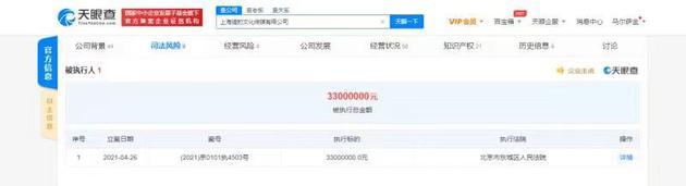 郑恺公司被强制执行3300万