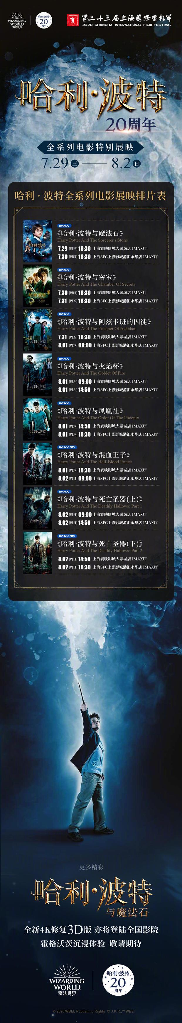 《哈利·波特》电影全集八部宣布将在今年上海电影节进走展映