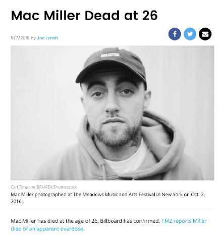 26岁说唱歌手Mac Miller家中去世 疑因服药物过量