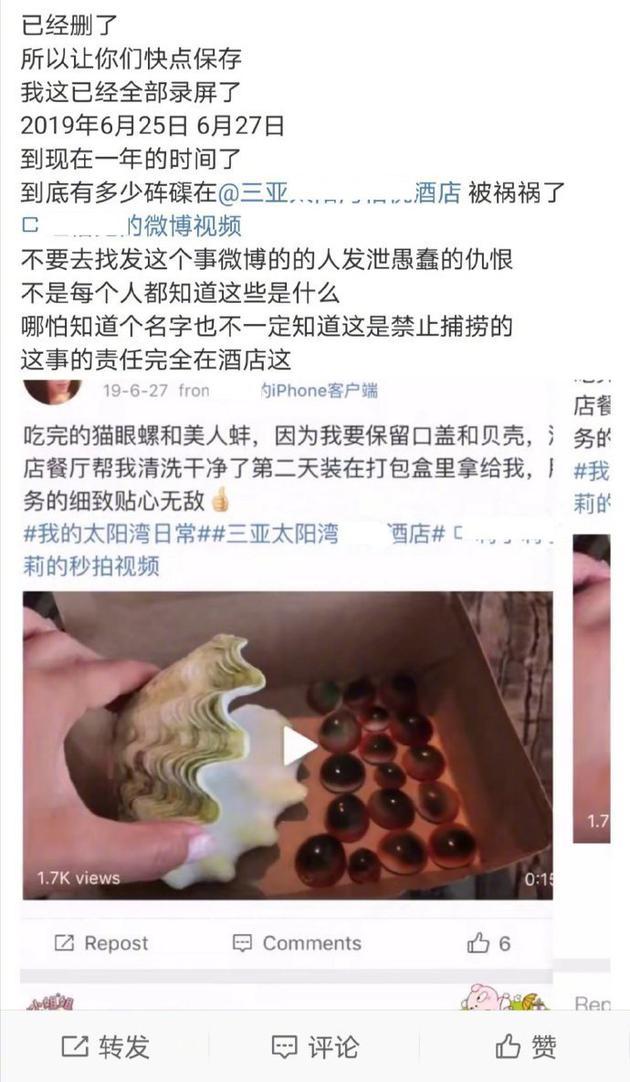 陈学冬曝光三亚某酒店作凶捕捞