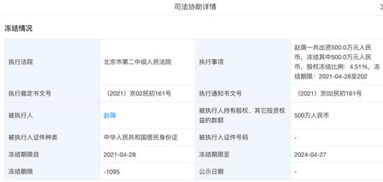 赵薇名下多家公司股权被冻结