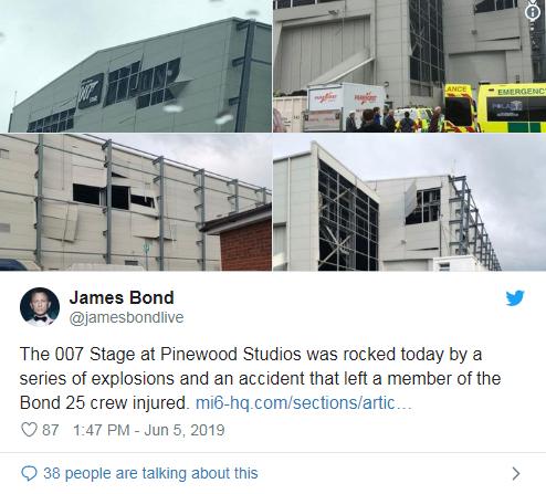 《007》Pinewood片场发生意外后,一片狼藉。