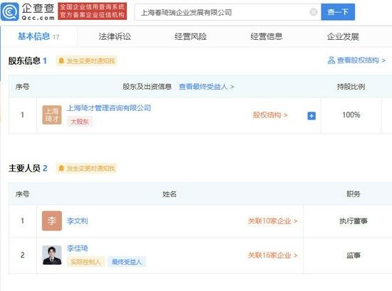 上海春琦瑞企业发展有限公司