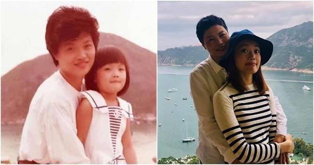 容祖儿很乖和妈妈摆出跟旧照片同样的姿势合照。