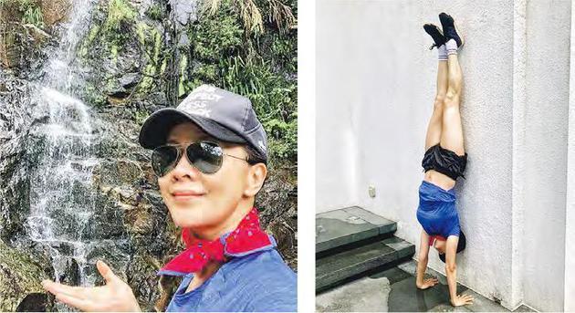 刘嘉玲昨天(7月22日)在社交平台分享行山照,以及做倒立(右图)的照片。
