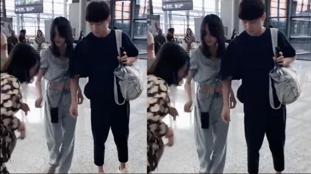 鄭爽與男友張恒在機場被路人偶遇