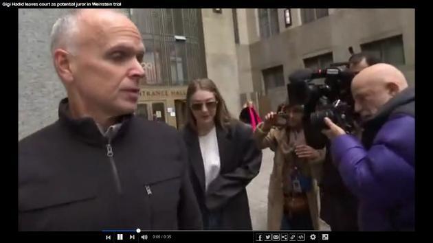Gigi在庭外被媒体追访