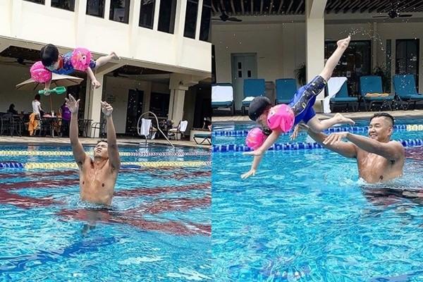 陈建州教儿子游泳