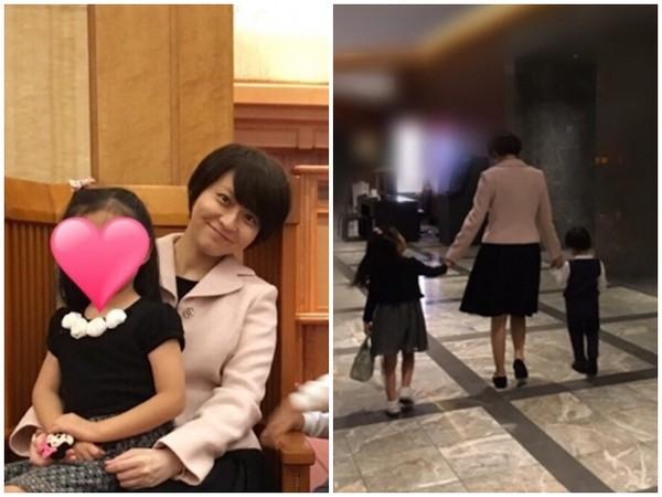 小林麻央化妆后带小孩出门玩
