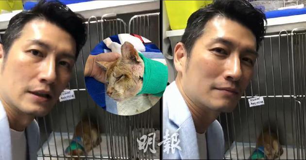 """袁文杰昨晚(7月8日)前往动物诊所探望正在接受治疗的""""可乐"""",据知他也有资助""""可乐""""的医疗费。"""