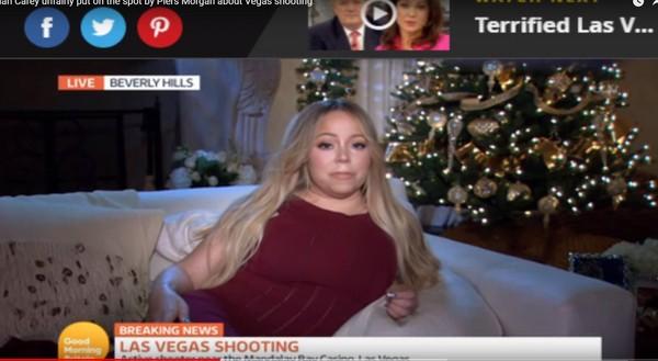 玛丽亚凯莉侧卧接受枪击案采访