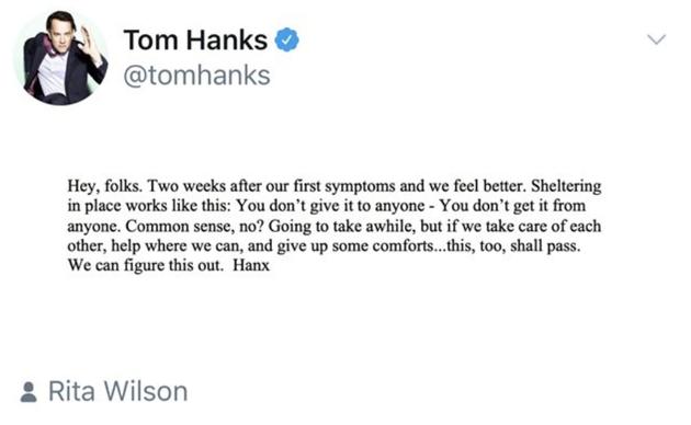 汤姆·汉克斯分享抗疫经验