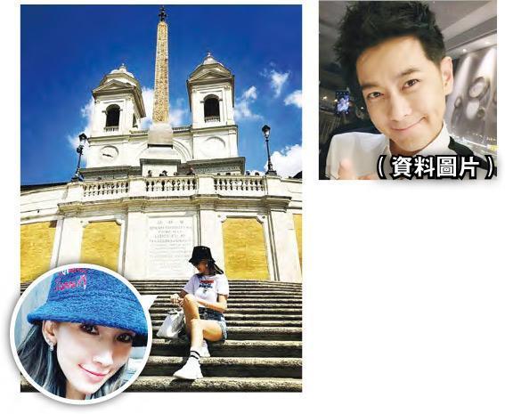 林志颖(右图)的爱妻陈若仪(圆图)坐在西班牙广场阶梯上违反当地规定,她随后删除照片并为此道歉