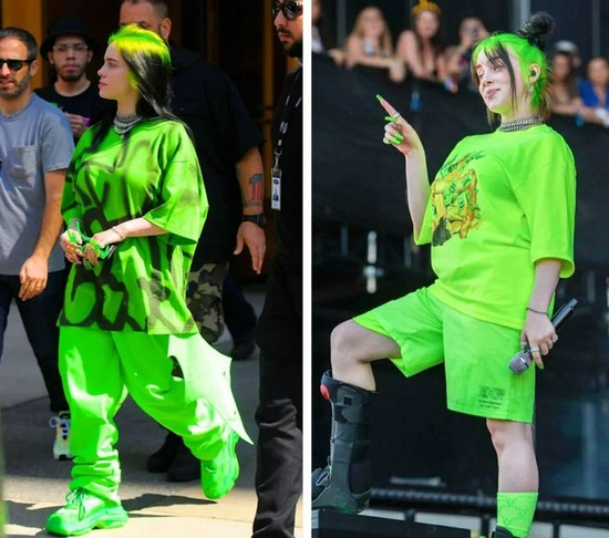 碧梨经典造型:绿色头发和宽松衣着