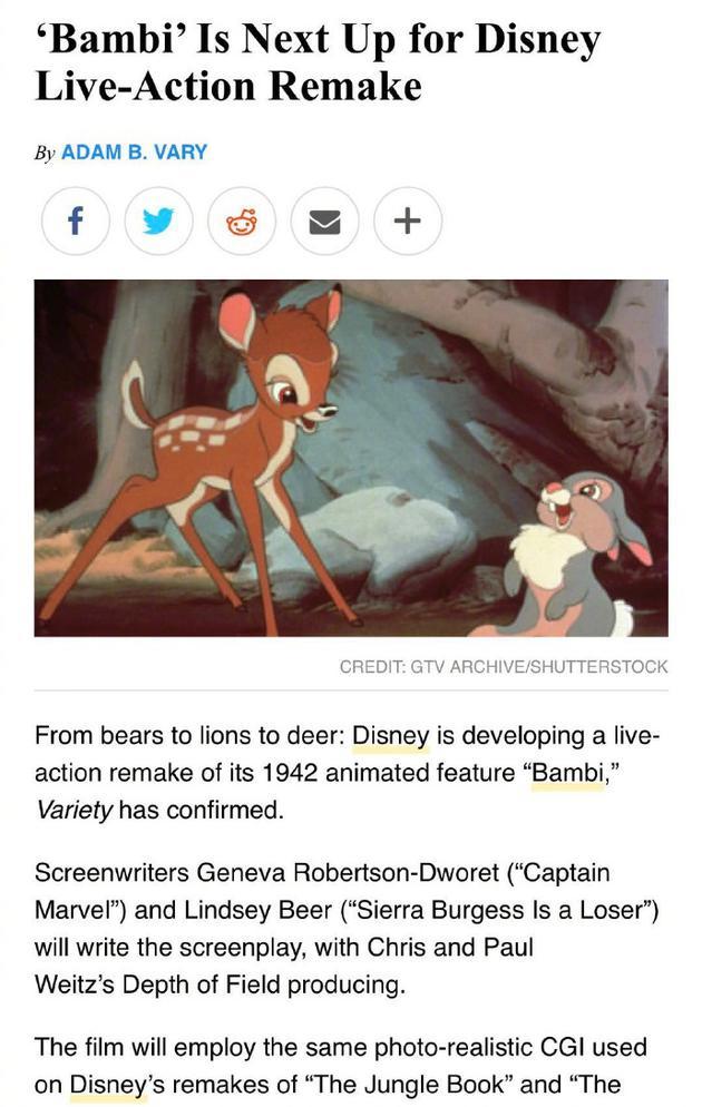 迪士尼将翻拍《幼鹿斑比》