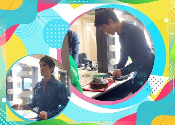 王力宏亲手做蛋糕给工作人员
