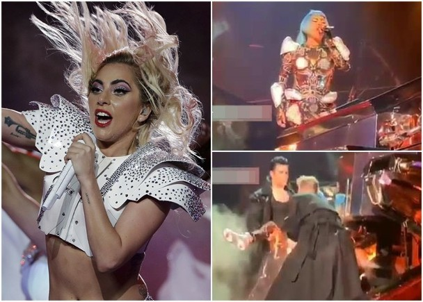 Lady GaGa演出跌倒