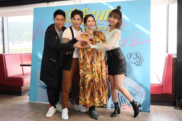 电影《练爱iNG》3日在台北举办媒体试片,阿KEN、纪培慧、彭小刀、陈怡㪫试片后接受媒体联访