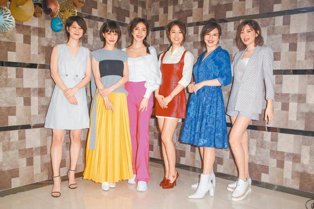 (左起)宜蓉、谢欣颖、杨谨华、林心如、刘品言、郭雪芙昨出席《华灯初上》开镜记者会。