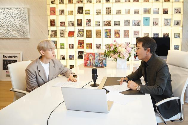 出席首届世界文化产业论坛特别访谈的李秀满、边伯贤