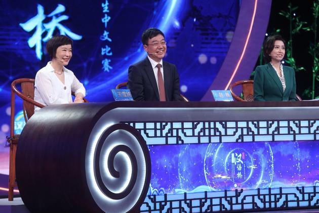 """""""汉语桥""""评委(从左至右:王雪纯、赵杨、乐琦)"""