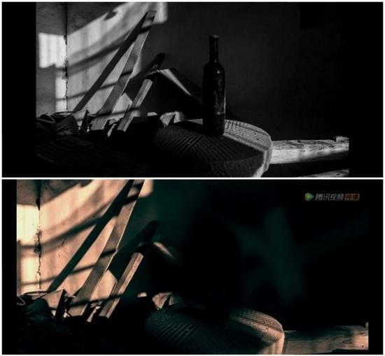 第一组画面:曹祺拍摄(上)、《扫黑风暴》片头(下)