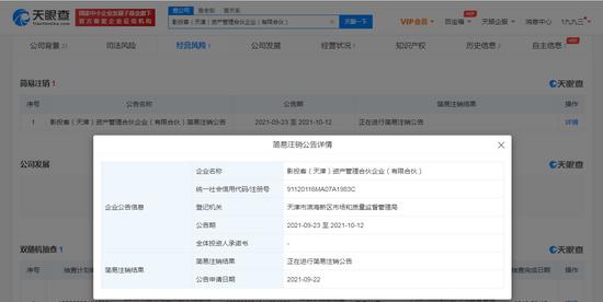 影影投客(天津)资产打点合资企业(有限合资)新增浅易注销通告