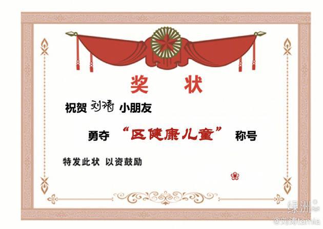刘涛晒奖状