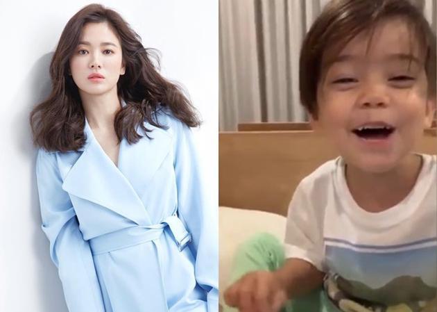 宋慧乔晒外甥为其唱生日歌的视频