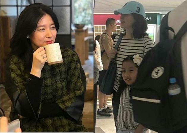 李英爱带女儿逛街