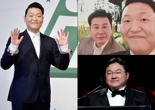 梁铉锡(右上图左)卷入性迎接风波,刘特佐(右下)外示议定Psy(左)意识梁铉锡。