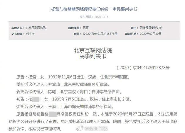 杨紫告黑粉胜诉获赔6.5万 被告自辩是吴亦凡粉丝