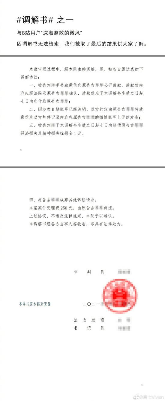 唐七名誉权案调解书