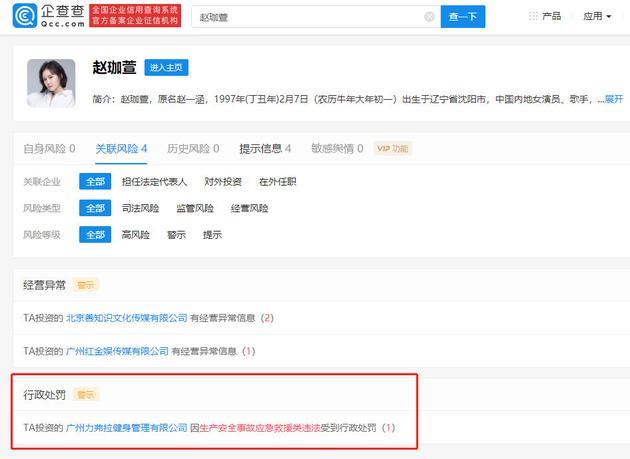 赵本山女儿公司新增行政处罚