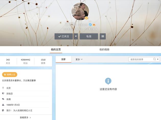 王思聪微博主页