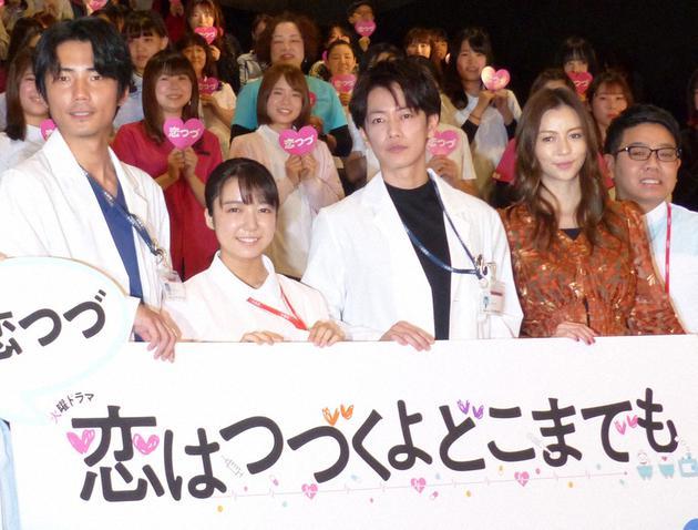 日剧《将恋爱进行到底》主要演员,左起每熊克哉、上白石萌音、佐藤健、香里奈