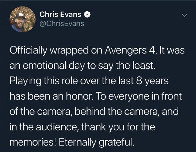 克里斯・埃文斯发文告别《复仇者联盟》 称不再饰演美队