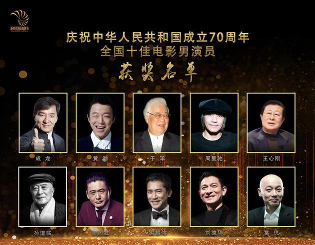 新中国成立70周年十佳电影男演员揭晓 成龙等上榜