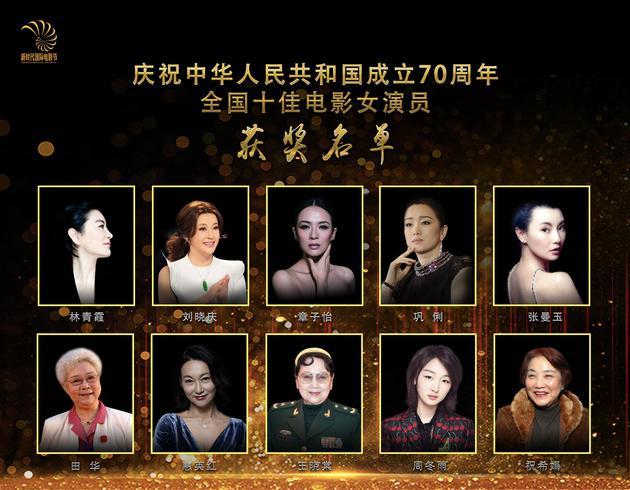 新时代国际电影节组委会联合第27届华鼎奖组委会,发布新中国成立70周年全国十佳电影女演员获奖名单