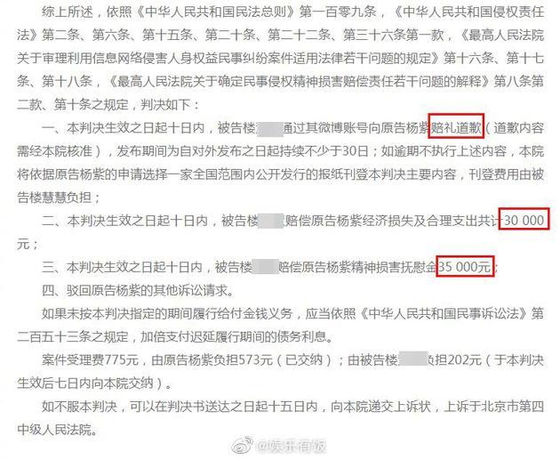 杨紫网络侵权责任纠纷案胜诉
