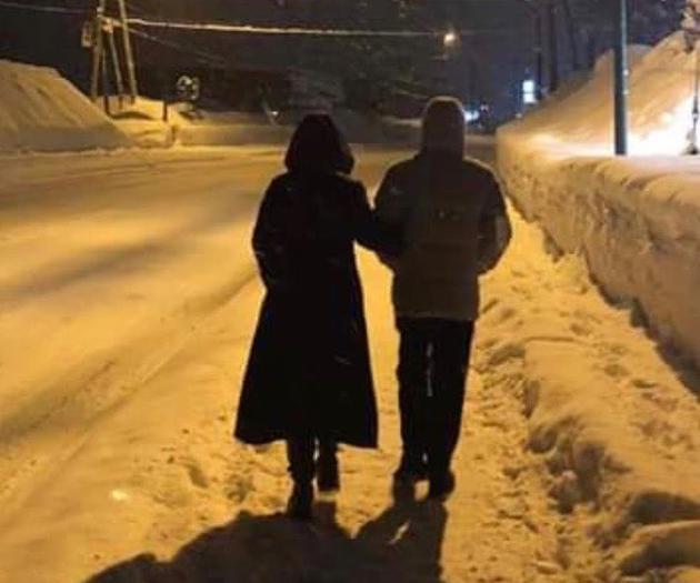 两人在晚上的雪地上行走,两人挽着胳膊,路灯下的身影显得格外温馨与浪漫。