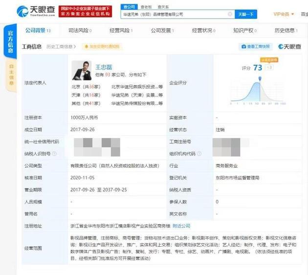 华谊兄弟品牌管理有限公司被注销 注册资本1000万