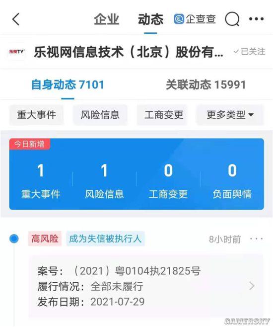乐视网拖欠喜羊羊出品方410万 成失信被执行人