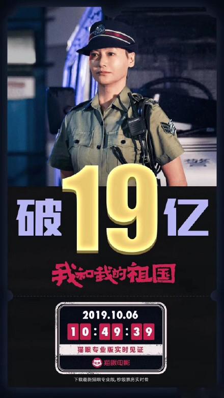 破19亿!《我和我的祖国》升至国内年度票房榜第5