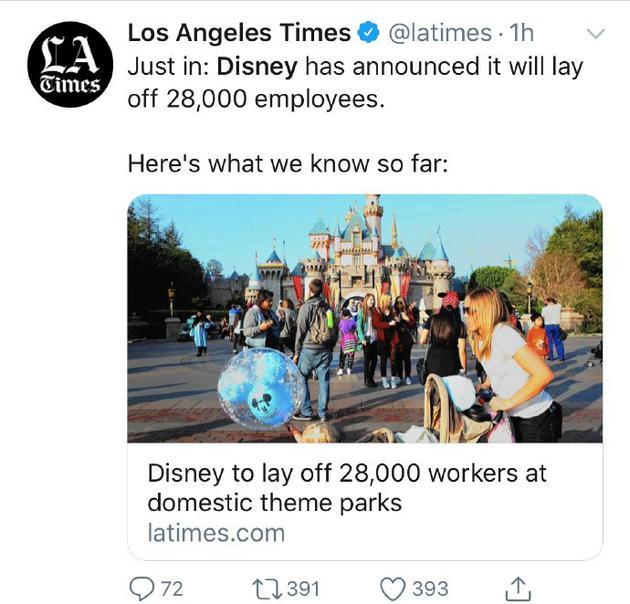 疫情原因?美国迪士尼乐园将辞退28000名工作人员